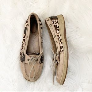 Sperry Cheetah Print Slip On Boat Shoes